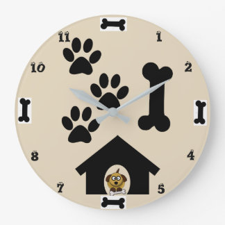 Relógio Grande Pulso de disparo de parede redondo do cão e do
