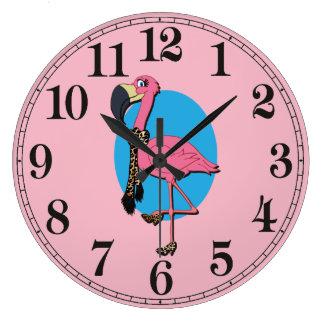 Relógio Grande Pulso de disparo de parede redondo do flamingo