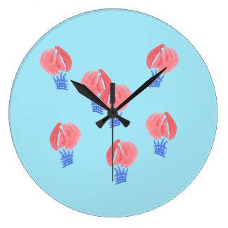 Relógio Grande Pulso de disparo de parede redondo dos balões de