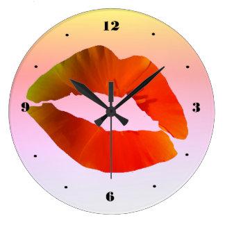 Relógio Grande Pulso de disparo de parede redondo dos lábios
