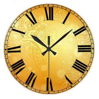 Relógio Grande Pulso de disparo de parede redondo dourado de