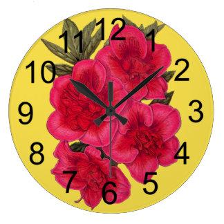 Relógio Grande Pulso de disparo de parede vermelho e amarelo da