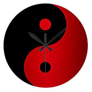 Relógio Grande Pulso de disparo de Yin Yang no vermelho e no