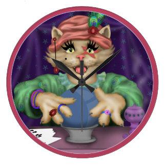 Relógio Grande Pulso de disparo do CAT de TAROT redondo (grande)
