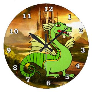 Relógio Grande Pulso de disparo do dragão verde