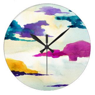 Relógio Grande Pulso de disparo escocês abstrato da pintura do