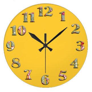 Relógio Grande Pulso de disparo redondo amarelo brilhante com núm