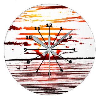 Relógio Grande Pulso de disparo redondo da raia do por do sol