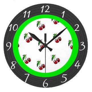 Relógio Grande Pulso de disparo retro da cozinha das cerejas do