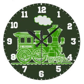Relógio Grande Pulso de disparo verde e branco do trem do nome