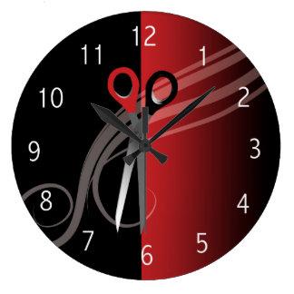 Relógio Grande Pulso de disparo vermelho & preto do cabeleireiro