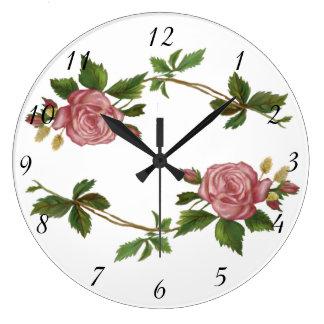 Relógio Grande Pulverizadores do rosa do rosa do vintage