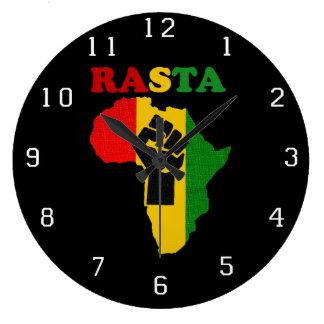 Relógio Grande Punho do poder preto de Rasta sobre África