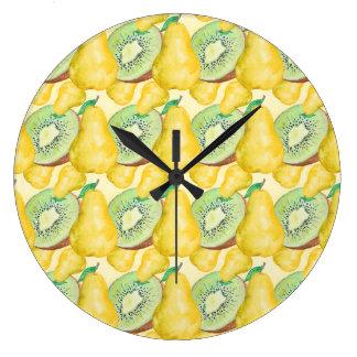 Relógio Grande Quivi e pera da aguarela