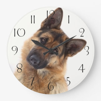 Relógio Grande Retrato engraçado adorável do german shepherd