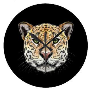 Relógio Grande Retrato ilustrado do Jaguar.