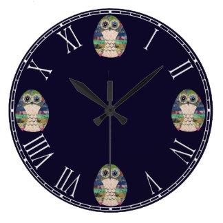 Relógio Grande Retro colorido do pássaro rústico bonito da coruja