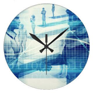 Relógio Grande Reunião em linha para o negócio com os homens que