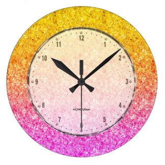 Relógio Grande Rosa à textura amarela do brilho