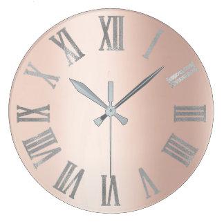 Relógio Grande Rosa cor-de-rosa de cinzas de prata Lux romano
