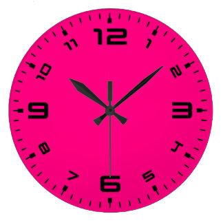 Relógio Grande Rosa magenta do divertimento brilhante
