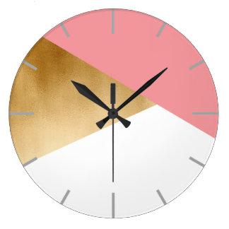 Relógio Grande rosa moderno do ouro do falso do pintinho elegante