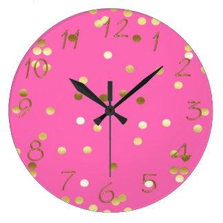 Relógio Grande Rosa quente dos confetes na moda da folha de ouro