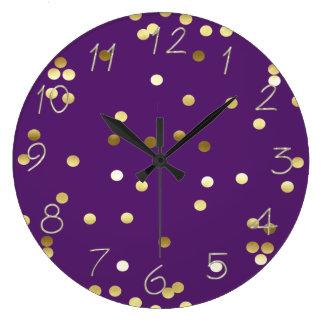 Relógio Grande Roxo chique dos confetes da folha de ouro