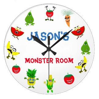 Relógio Grande Sala de crianças engraçada dos amigos da fruta do