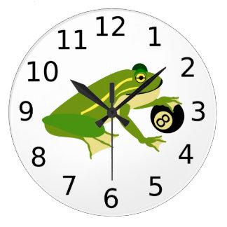 Relógio Grande Sapo verde Palming uma bola oito