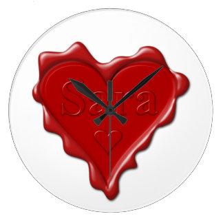 Relógio Grande Sara. Selo vermelho da cera do coração com Sara