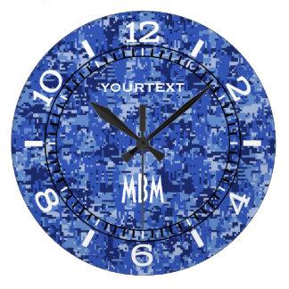 Relógio Grande Seletor azul vibrante da camuflagem de Digitas