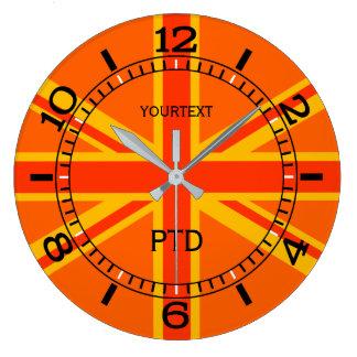 Relógio Grande Seletor britânico alaranjado personalizado da