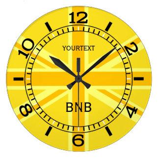 Relógio Grande Seletor britânico amarelo personalizado da