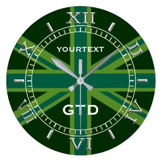 Relógio Grande Seletor britânico verde personalizado da bandeira