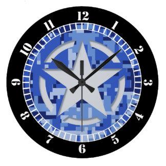 Relógio Grande Seletor dos azuis marinhos do vintage do estêncil