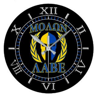 Relógio Grande Seletor espartano do azul do amarelo dos louros da
