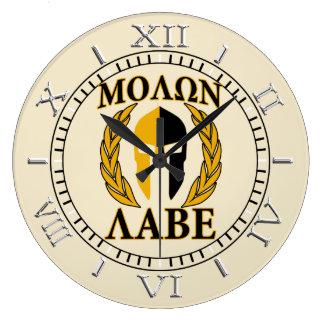 Relógio Grande Seletor espartano do bege dos louros da máscara de