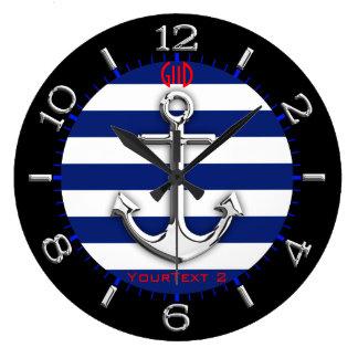 Relógio Grande Seletor personalizado das listras de azuis