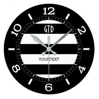 Relógio Grande Seletor preto e branco personalizado das listras
