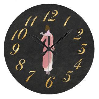Relógio Grande Senhora da regência no clcok cor-de-rosa da parede