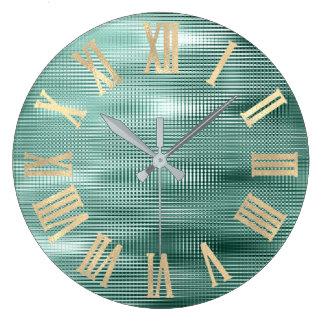 Relógio Grande Sepia Numers romano metálico mínimo do ouro da