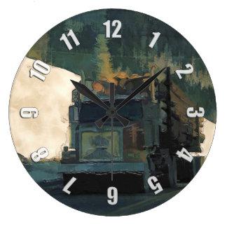 Relógio Grande Serrando madeira o caminhão de registo