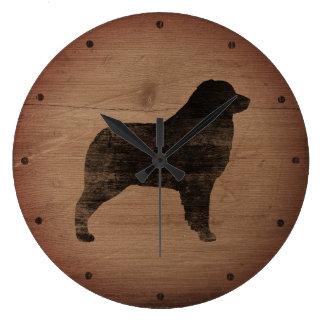 Relógio Grande Silhueta australiana do pastor rústica