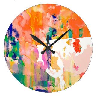 Relógio Grande Silhueta da aguarela da vaca da abstracção
