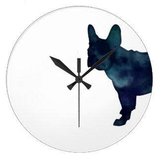 Relógio Grande Silhueta da aguarela do preto do buldogue francês