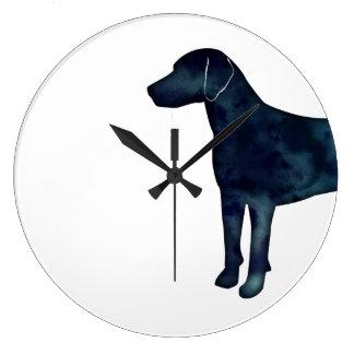 Relógio Grande Silhueta da aguarela do preto do lebreiro do cão