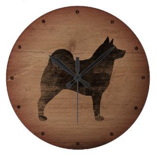 Relógio Grande Silhueta de Elkhound do norueguês rústica