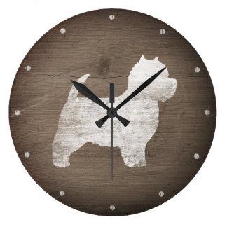 Relógio Grande Silhueta de Terrier branco de montanhas ocidentais