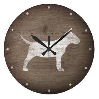 Relógio Grande Silhueta diminuta de bull terrier rústica